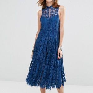 Free People Angel Rays Dress Large Blue Lace Midi